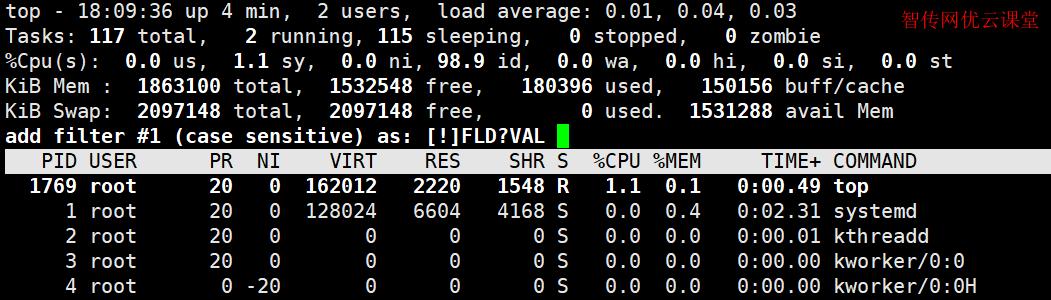 使用top命令排序快捷键