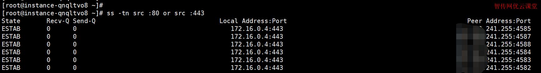 使用ss命令来列出数字端口号