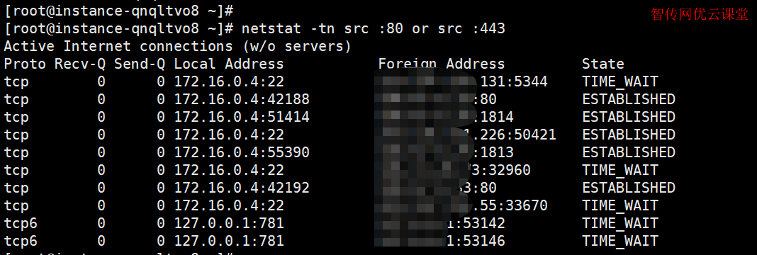 使用netstat命令来列出数字端口号