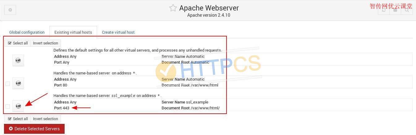 一个监听端口443的新虚拟主机应该出现在Apache Webserver页面上