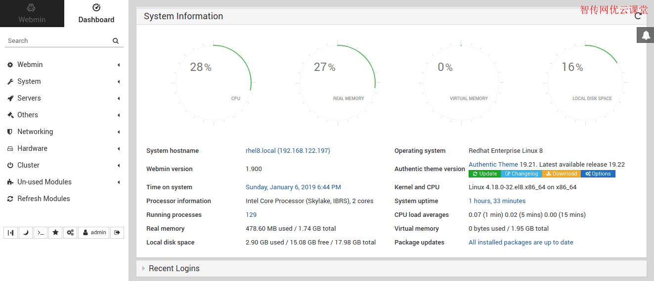 显示webmin的默认页面是系统详细信息的摘要