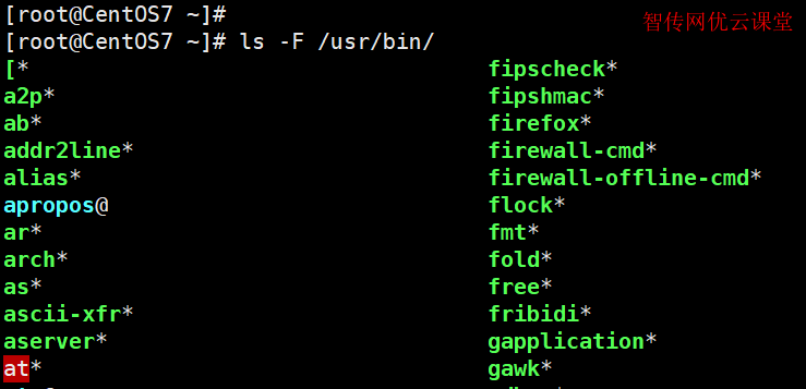 使用ls命令显示文件分类