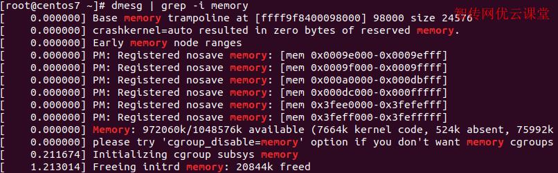 linux使用dmesg命令查看内存有关的信息