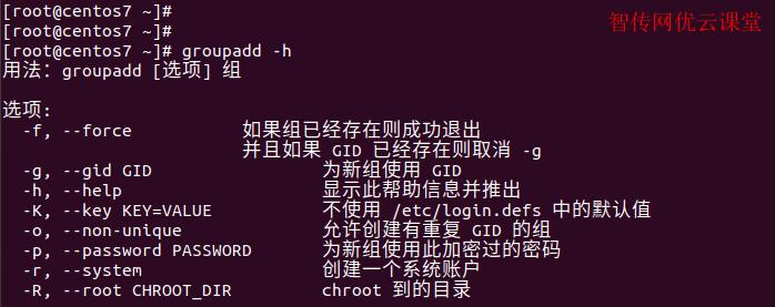 linux groupadd命令的帮助信息