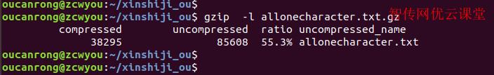 linux使用gzip列出压缩文件相关信息