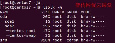 使用lsblk命令以权限模式查看磁盘空间