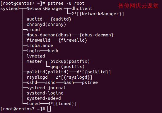 linux显示某用户的进程树