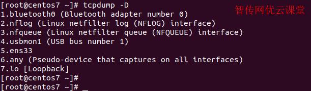 查看可以被tcpdump使用的网络接口