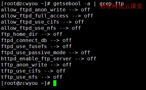 查询SElinux对ftp服务器的相关状态