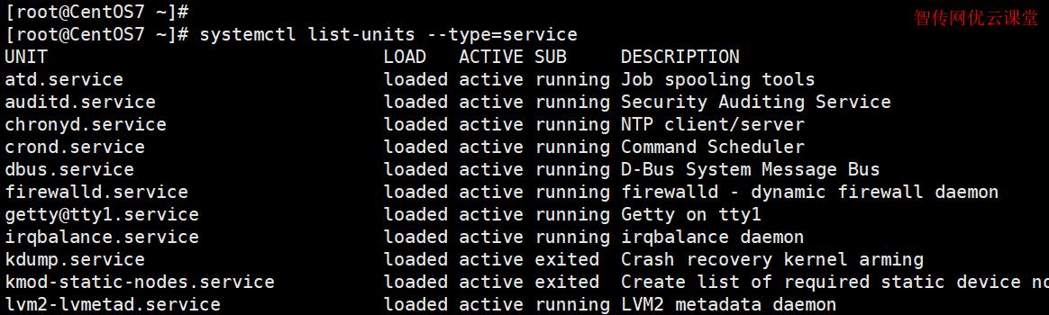 列出系统上所有已加载的服务,查看它们活动状态