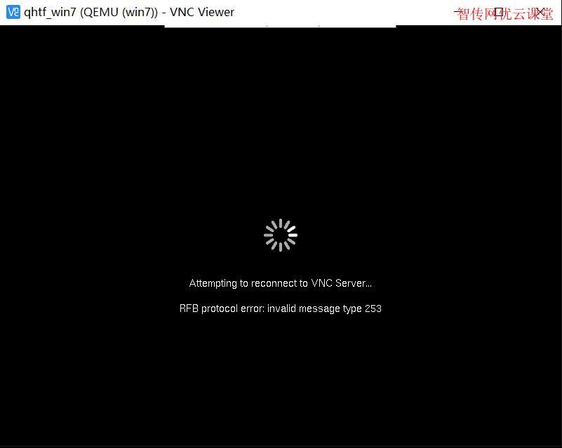 使用VNC连接KVM虚拟机时提示错误Attempting to reconnect to VNC Server,RFB protocol error:invalid message type 23,255,253
