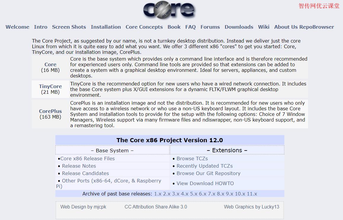 Tiny Core Linux下载页面