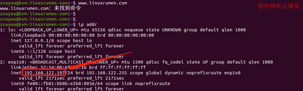 通过ip addr命令行查看Linux的IP地址