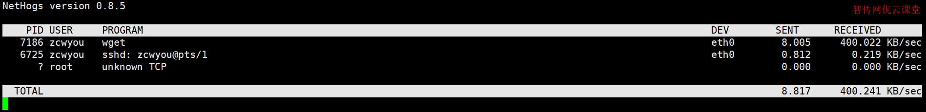 使用nethogs命令查看进程实时的网络连接速度