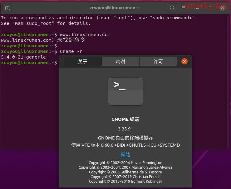 运行在Ubuntu 20.04 LTS上的GNOME终端应用